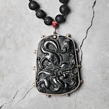black jade necklace images Vintage black jade lava stone necklace sbc jpg