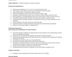Construction Worker Resume Sample by Construction Labor Resume Sample Construction Worker Resume