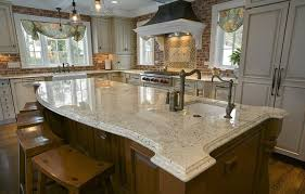 Kitchen Island With Granite Countertop Bianco Romano Granite Countertops Walnut Island Curved Edge