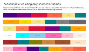 ugliest color hex code pleasant palettes from short css color names