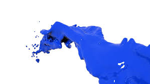 close up view of blue color splashing in slow motion alpha