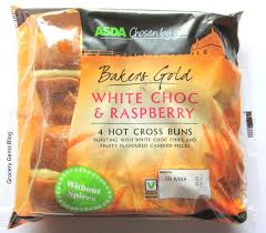 hot buns review grocery gems asda white choc raspberry hot cross buns review