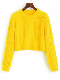yellow sweater cable knit panel pullover cropped sweater yellow sweaters one
