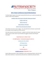 Seeking Awards The Autism Society Of West Virginia Seeking State Conference