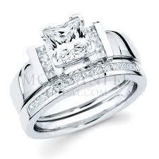 princess cut wedding set princess cut moissanite and diamond channel wedding set princess