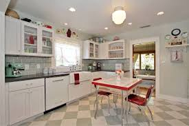 Retro Kitchen Design Ideas Retro Kitchen Design Brown Polished Hardwood Legs Soft Blue