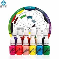 ophir 12 colors airbrush nail ink pigment w color wheel 10ml
