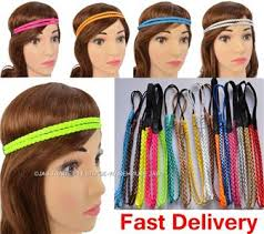 80 s headbands 12 dressup disco fluro 80s party costume braided plaited