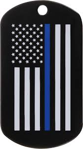 Thin Blue Line Flag Police Thin Blue Line Subdued American Flag Military Dog Tag