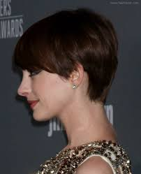 side and front view short pixie haircuts anne hathaway slightly grown out pixie haircut with heavy
