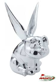 chrome pig with wings ornament by grand general hoods