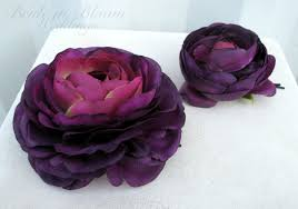 bridal hair pins wedding hair accessories plum purple ranunculus hair pins