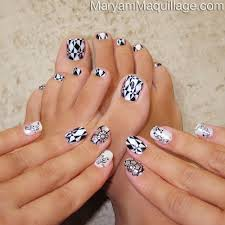 toe nail designs black and white nail art and tattoo design
