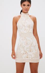 dress pic white tassel detail halterneck bodycon dress prettylittlething ie