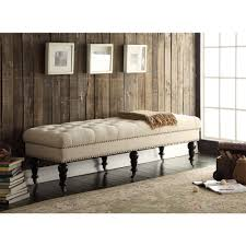 Storage Bench Bedroom Linon 62 Inch Linen Tufted Bench By Linon Bed Bench Bedrooms