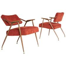 Red Armchairs For Sale Pair Of Adjustable Backrest Red Lounge Armchairs By Viko