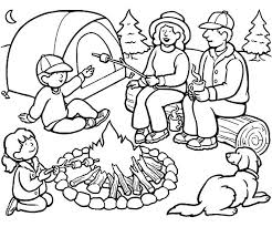 camping family bonfire coloring pages free printable free