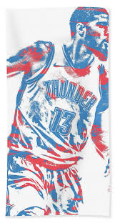 Oklahoma Travel Towel images Paul george oklahoma city thunder pixel art 11 beach towel for jpg