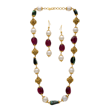 pearl ruby necklace images Buy pearl ruby emerald pebble necklace set online jpg