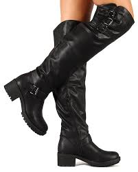 womens black knee high boots size 11 nature chuck 01hi pu buckles knee high