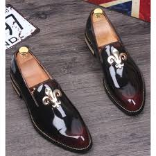 burgundy patent leather fashion wedding prom dress loafers shoes