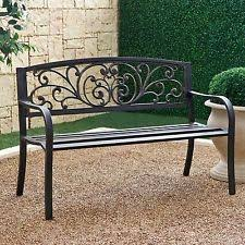 iron park benches outsunny cast iron antique rose style outdoor patio garden park