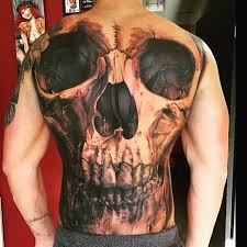 3d skull tattoo on full back