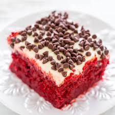 red velvet poke cake with cream cheese frosting averie cooks
