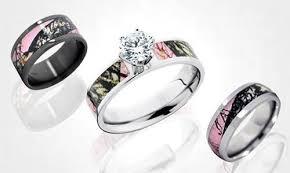 pink camo wedding rings pink camo diamond ring set