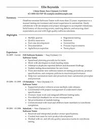 Sqa Resume Sample Software Testing Resume Samples Resume Samples And Resume Help