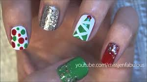 three cute u0026 easy christmas tree nail tutorials youtube