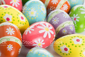 painted easter eggs alot of colorful painted easter eggs on white stock photo