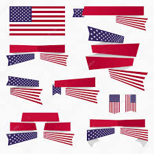 Blue White And Red Flags Red White Blue American Flag Ribbons And Banners U2014 Stock Vector
