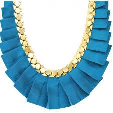 emerald peacock blue designer silk necklace