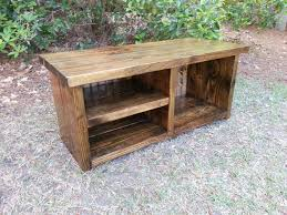 image of rustic entryway bench shoe rack and boot rack idée
