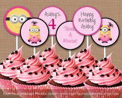 personalized cupcake toppers personalized girl minions birthday party pink chevron cupcake