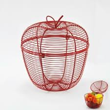 metal fruit basket apple shaped metal wired fruit basket with cover buy fruit