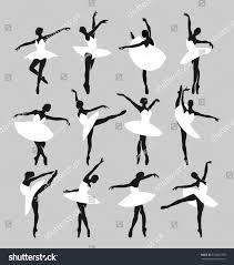 silhouettes ballerinas dancing swan lake stock vector 573022780