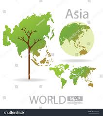 Asia World Map by Tree Design Asia World Map Vector Stock Vector 151566056