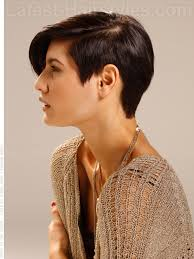 short haircuts eith tapered sides swept away short shiny tapered brunette look side view like the