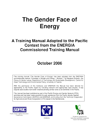 the gender face of energy a training manual adapted to the