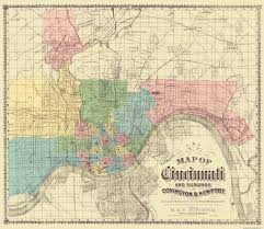 Dayton Map Old City Map Cincinnati Suburbs Ohio 1870