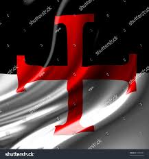 Red And White Flag With A Cross Templar Cross On Black White Flag Stockillustration 37846327