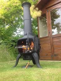 Steel Chiminea Large Tia Steel And Cast Iron Chimenea Barbeque In Bronze Or Black