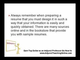 Sample Adjunct Professor Resume by Example Of A College Professor Resume Youtube