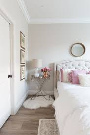 Grey Flooring Bedroom Bright Rose Floral Paint Wall Cream Wooden Floor Rose Gold Carpet
