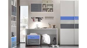 jugendzimmer set set 2 colori in weiß und glas blau grau