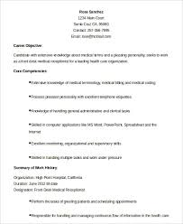 Key Competencies Resume Medical Receptionist Resume Template 5 Free Sample Example