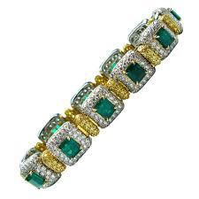 emerald diamond gold bracelet images Green emerald diamond gold platinum link bracelet for sale at 1stdibs jpeg