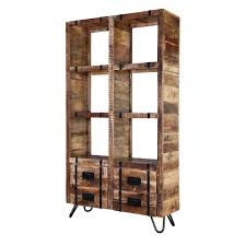 solid mango wood industrialized accent bookshelf with drawers